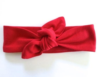 Bright Red Baby Headband - Top Knot Fabric Headband - Stretch Headband - Vintage Style - Rosie the Riveter - Cherry Red Christmas Red