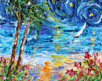 Starry Night Seaside painting original oil 12x12 abstract palette knife impressionism on canvas fine art by Karen Tarlton