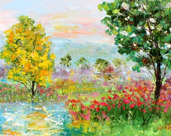 Colors of Country landscape painting original oil on canvas palette knife 12x16 impressionism fine art by Karen Tarlton