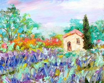 Provence Lavender painting original oil 12x12 abstract palette knife impressionism on canvas fine art by Karen Tarlton