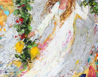 Original oil painting Holiday Angel Dance 10x20 abstract palette knife impressionism on canvas fine art by Karen Tarlton