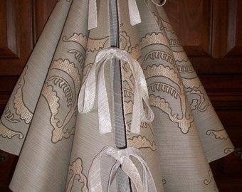 """AMAZING 58""""  Taupe, Tan and Cream Embroidered Reversible Christmas Tree Skirt 2016 Collection"""