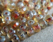 Picasso Czech Rondelle Beads, Fire Polished beads, facetted glass donut beads, 3X5mm Clear glass & Picasso (100pcs) NEW