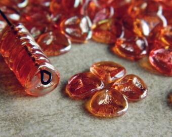 Apricot Rose petal beads, Czech glass beads, 8x7mm beads, Apricot lustred beads (50 pcs) NEW