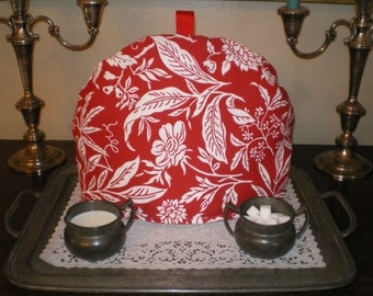 Tea Cozy, English Style, Red and White Print, Warmer, Insulator