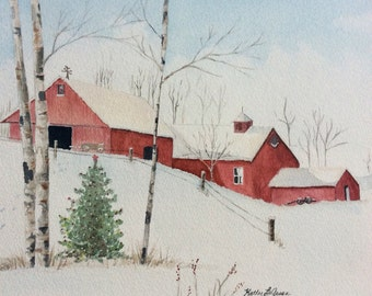 Watercolor print of Red barns in the snow
