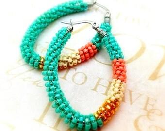 Turquoise Beaded  Earrings - Beaded Hoop Earrings  - Gypsy Hoop Earrings - Wire Wrapped Earrings - Seed Bead Earrings - Womens Gifts