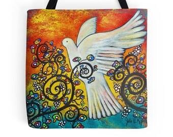 Peace Flew In Original Art 18 x 18 Dove Tote Bag