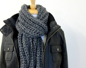 ON SALE Long Gray Knit Scarf - Mens Winter Scarves - Hand made in Australia - Fishermans Rib - Steel