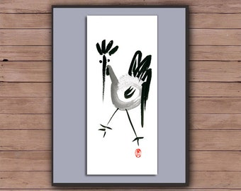 Rooster, Chinese New Year 2017, Year of the Rooster, Original Zen Sumi ink Painting, zen decor, child's nursery art, japan style, chicken