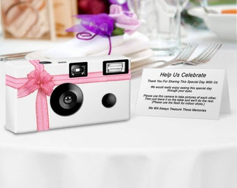 Beautiful Pink Ribbon Disposable Camera--1 camera--24 exposure Fuji high speed color film, with flash--PERSONALIZE - wedding cameras