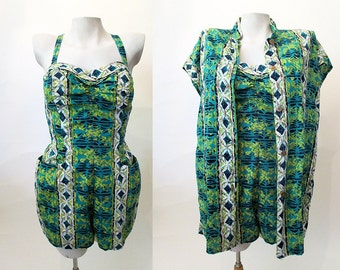 Adorable 1950's Alfred Shaheen Designer Two piece Playsuit Tea Timer Blouse Vintage Hawaiian Swimsuit Set Rockabilly VLV Pinup Size-Small