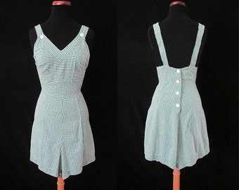 "CLEARANCE Adorable 1940's Cotton Gingham Print Playsuit Sunsuit  by ""Dee and Dee Sportswea"" Rockabilly VLV Pool Party Pinup Size-X Small"
