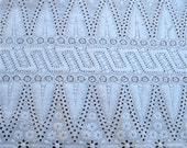 Victorian Hand Embroidered Eyelet Fabric Hand Sewn Cut Work Batiste Broderie Anglaise ON SALE
