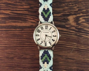 Large Watch - Mina Watch with X-Large Face and Silk and Cotton Embroidered Band