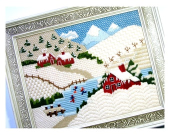 Framed Vintage Needlepoint, Winter Country Scene Needlepoint, Winter Skaters Farm Mountains Needlepoint, Framed 3D Needlepoint