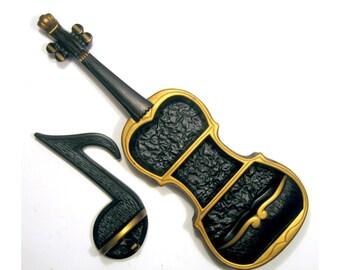 Chalkware Violin Curio Shelf, Chalkware Violin Wall Pocket with Shelves, Plaster Black Violin and Half Note Wall Hanging Set, Plaster Violin