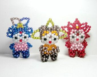 Beaded Japanese Style Figures, Vinage Beaded Figures, Three Beaded Toy Figures, Beaded Figure Set, Standup Crystal Pony Bead Set of Three