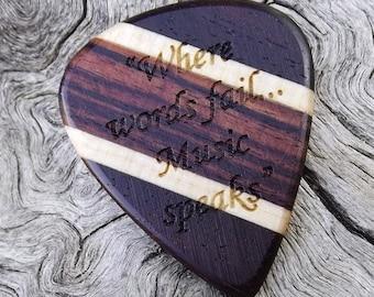 Handmade Multi-Wood Premium Guitar Pick - Laser Engraved - Actual Pick Shown - Engraved Both Sides - Artisan guitar Pick