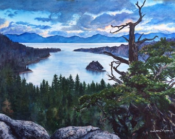 LARGE ORIGINAL ART Watercolor Painting Lake Tahoe Emerald Bay Art Lake Tahoe sunrise, fine art home decor, wall art by Artist Christie Marie