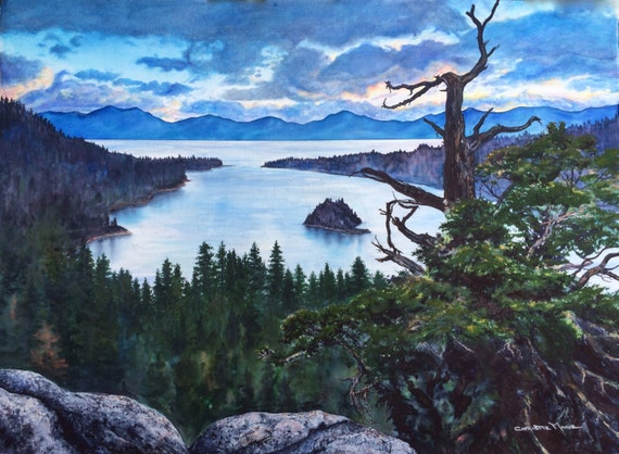 Large Original Art Watercolor Painting Lake Tahoe Emerald Bay
