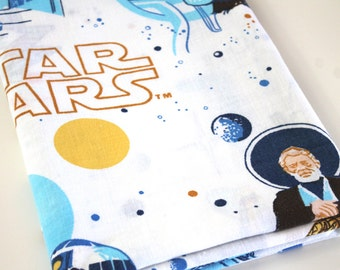Vintage Star Wars Fabric rare Obi-wan Reclaimed bed sheet fabric Darth Vader Luke Leia Death Star Chewie Han Solo Star Wars quilting fabric