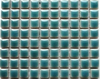 "100 10mm MINI Teal/Phthalo Green Glazed Ceramic Tiles 3/8""//Mosaic Supplies//Mosaic Pieces//Crafts"