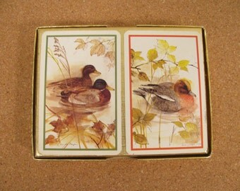 Playing Cards - Vintage 2 Deck Set of Piatnik  - Ducks - Made in Vienna, Austria - Like New - Plastic Coated