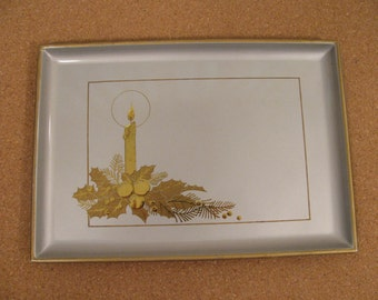 Vintage Otagiri Lacquerware - Small Tray - Holiday - Christmas - Gold on Silver - Made in Japan