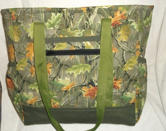 Leafy Green Camouflage Tote Bag, Diaper Bag, Carry-On Bag, Book Bag