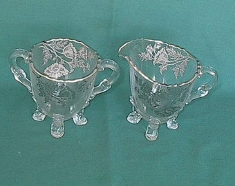 Silver Overlay creamer and open sugar Flanders Pattern by Silver City Glass Co. 1960s
