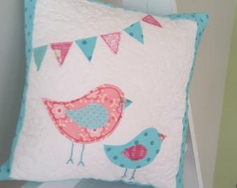 bird and bunting cushion