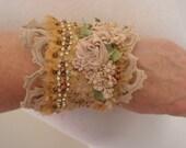 silk beaded cuff, boho beaded cuff, vintage lace cuff, festival embroidered cuff, textile bracelet, fiber art cuff, tattered lace cuf