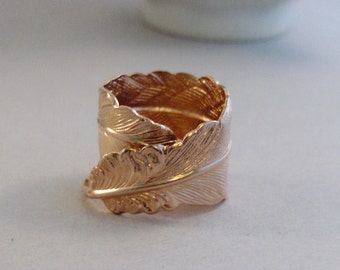 Rose Gold Feather Ring,Rose Gold Ring,Rose Gold Jewlery,Rose Gold Feather,Feather Ring,Rose Gold Ring,Feather,Antique Ring,valleygirldesigns