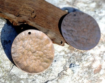 Copper Blank Hand Hammered with Hole 26G 30mm Disc Blank Cutout for Enameling Stamping Texturing  - 1 3/16 inch - 2 Pieces
