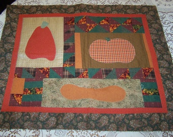 Vintage Fall Table Runner, Orange Table Topper, Pumpkins, Autumn Decor, Quilted Table Runner, Country Cottage
