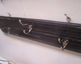 Vintage Upcycled Wood Coat Rack, Black with 3 Chrome Hooks,  Door Molding Trim, Architectural Salvage,Towel Rack, Entryway, Hallway