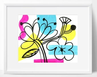 Abstract flowers - Wall art,wall decor, Folk, bohemian, funky flowers, flowers print, floral art.