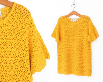 Vintage Crochet Sweater * 80s Sweater * Tunic Top * Mustard Yellow * Medium