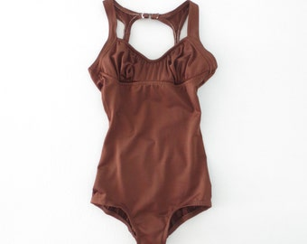 80s Swimsuit * Vintage 1980s Maillot * Chocolate Brown Tank Suit * XS