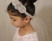 ON SALE Flower Girl Headpiece, Rhinestone Headpiece, Pearl Headpiece, Bridal Headpiece, Baptism Headband