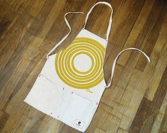 Apron Full Length, Yellow Sun, hand printed on canvas