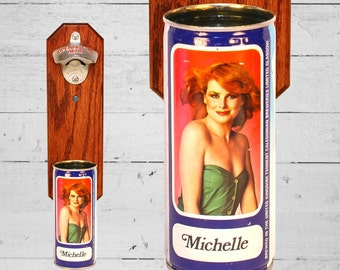 Wall Mounted Bottle Opener with Vintage Tennent's Beer Can Cap Catcher Featuring Redhead Michelle - Gift for Guy