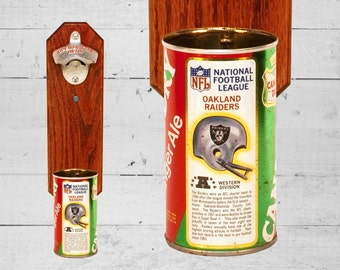 Sports Gift Oakland Raiders Man Cave Beer Bottle Opener with Vintage Wall Mount Canada Dry Pop Can Cap Catcher - Groomsmen Gift for Best Man