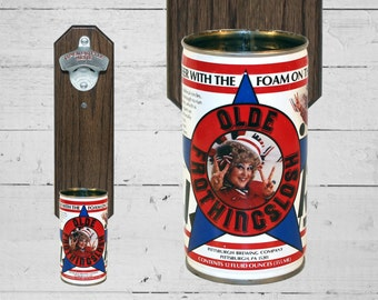 Miss Olde Frothingslosh Wall Mounted Bottle Opener with Vintage Beer Can Cap Catcher - The Beer With The Foam On The Bottom!