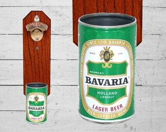 Bavaria Wall Mounted Bottle Opener with Vintage Beer Can Cap Catcher, Christmas Gift for Guy