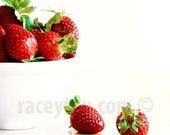 Strawberries, Red, White, Food Print, Kitchen Wall Art, Food Photography, Minimalist, Modern Kitchen Print
