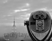 Black and White New York Photography, Empire State Building in fog, New York Skyline, Gray, Travel Photography