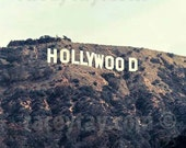 Hollywood Sign, Los Angeles Photograpy, Brown, Beige, Mint, Neutral Wall Art, California Print, Los Angeles Print