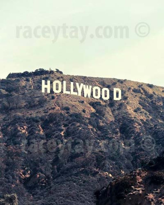 Hollywood Sign, Los Angeles Photograpy, Brown Beige Mint Wall Art, Neutral Wall Art, California Print, Los Angeles Print, Film Room Decor